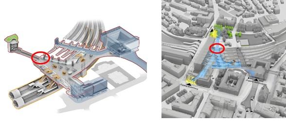 Bildlegende: Grafiken des neuen Berner Bahnhofes. Beim roten Kreis befindet sich die Baustelle auf Perron Gleis 12/13. Dort ist nun der Durchbruch vom bereits gebauten Schacht und Stollen des künftigen Zugangs Länggasse.