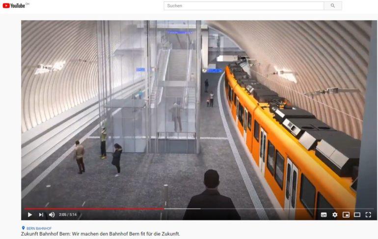 Zukunft Bahnhof Bern auf Youtube - Screenshot